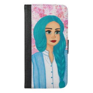 Blue hair iPhone 6/6s plus wallet case