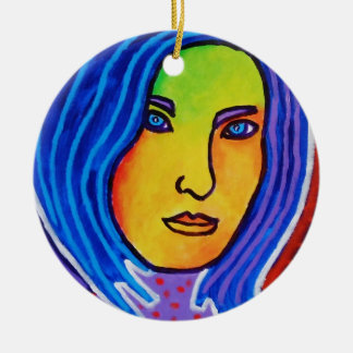 Blue Hair Lady Christmas Ornament