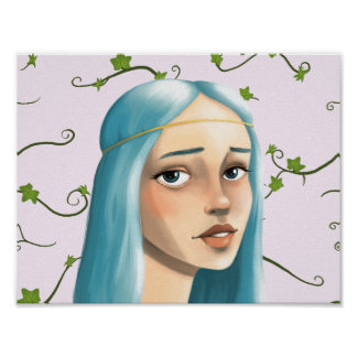 Blue Hair Maiden on Ivy Poster