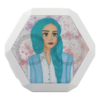 Blue hair white bluetooth speaker