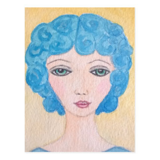 Blue hair woman postcard