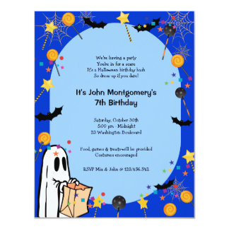 Blue Halloween Birthday Costume Party Invitation