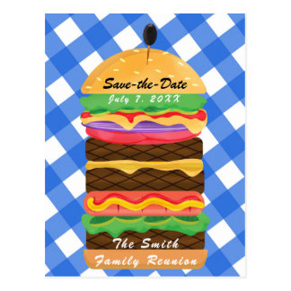 Blue Hamburger Summer Cookout Barbecue BBQ Party Postcard