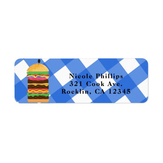 Blue Hamburger Summer Cookout Barbecue Invitation
