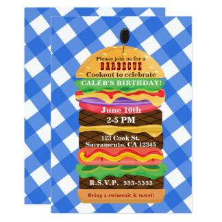 Blue Hamburger Summer Cookout Barbecue Invitations