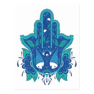 Blue Hamsa Design Postcard