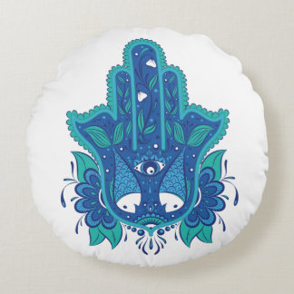 Blue Hamsa Design Round Cushion