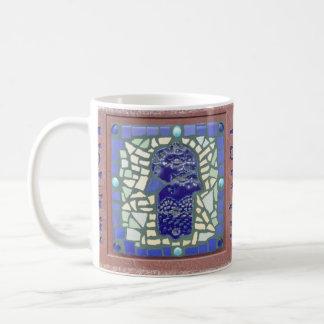 Blue Hamsa Mosaic Yellow and Green Coffee Mug