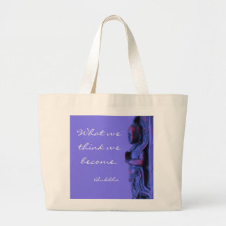 Blue hand carved Buddha with words of wisdom Large Tote Bag