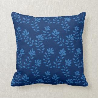 Blue hand drawn flower branch pattern throw pillow