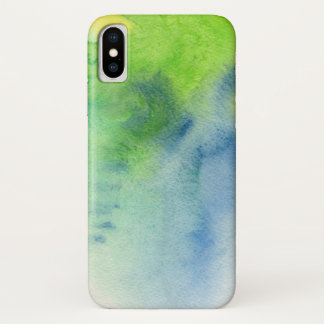 Blue Hand Painted Watercolor | Add Photo iPhone X Case