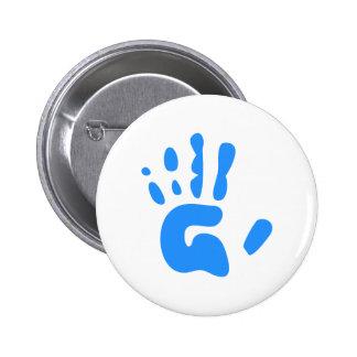 Blue Hand Print 6 Cm Round Badge