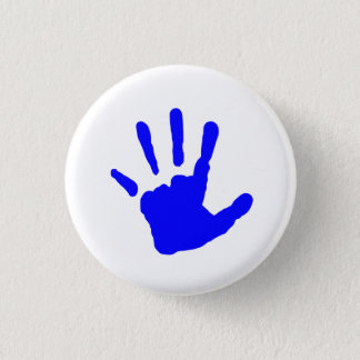 Blue Handprint 3 Cm Round Badge