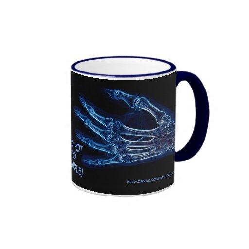 "Blue Hands ""Too Hot"" X-ray mug"