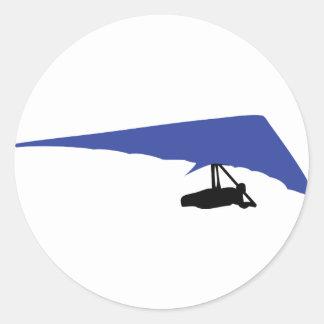 blue hang-glider icon round sticker