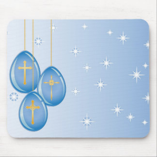 Blue hanging Easter eggs with gold crosses Mouse Pad