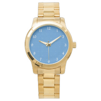 Blue Hannakah Squiggly Squares Wristwatch