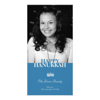 Blue Hanukkah Chanukkah elegant holiday greeting Card