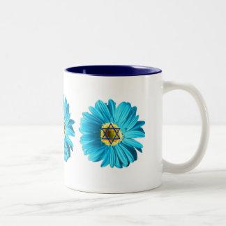 Blue Hanukkah Daisy Two-Tone Mug
