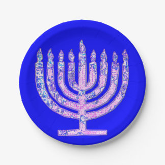 Blue Hanukkah Menorah 4Nicky Paper Plate