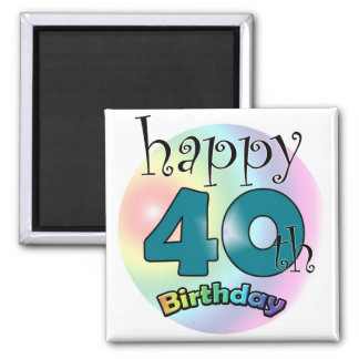Blue Happy 40th Birthday Square Magnet
