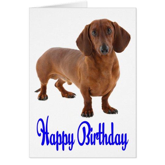 Blue Happy Birthday Dachshund Puppy Dog Card