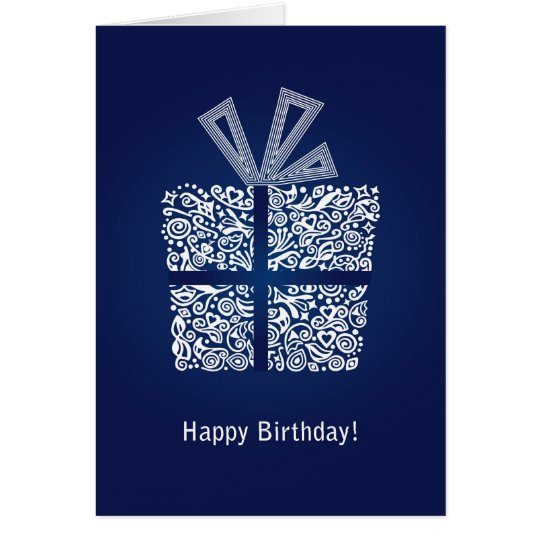 Blue happy birthday mens boys card with a