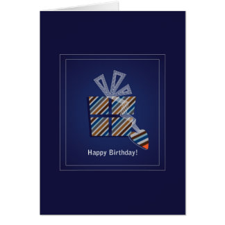 Blue happy birthday mens boys card with a gift box