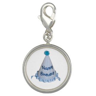 Blue Happy Birthday Party Hat Charm Bracelet