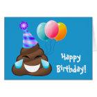 Blue Happy Birthday Party Poop Emoji Card