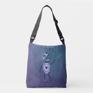 Blue Happy Cartoon Singing Robot Crossbody Bag