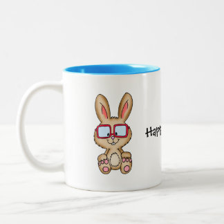 Blue Happy Easter Mug with cute Bunny Drawing