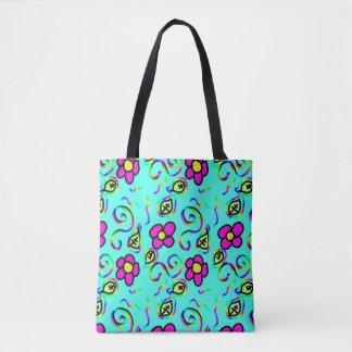 blue happy flower design summer blue and pink an tote bag