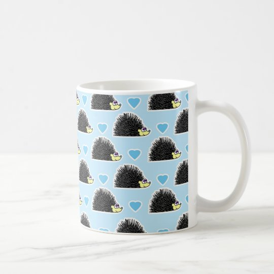 Blue Happy Hedgehog Love Pattern Coffee Mug