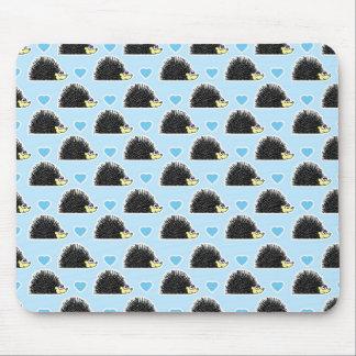 Blue Happy Hedgehog Love Pattern Mouse Mat