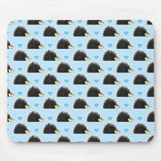 Blue Happy Hedgehog Love Pattern Mouse Pad