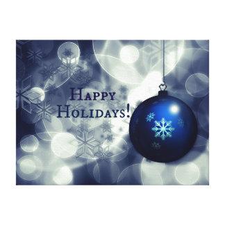 Blue Happy Holidays Canvas Print