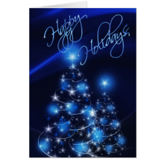 Blue Happy Holidays Christmas Card