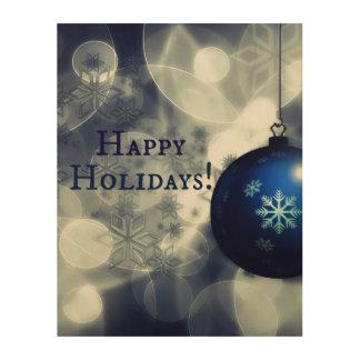 Blue Happy Holidays Wood Print