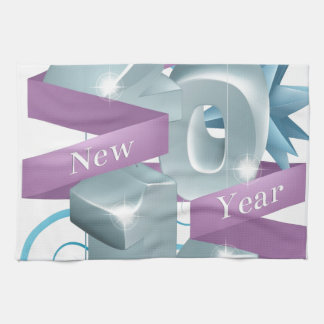 Blue Happy New Year 2014 Ornaments Hand Towels