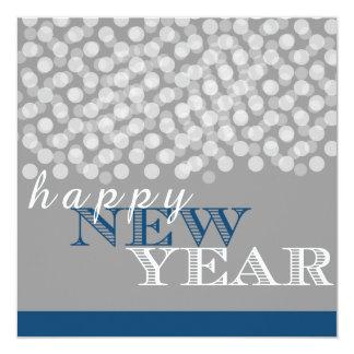 Blue Happy New Year Grey Bright Lights Card 13 Cm X 13 Cm Square Invitation Card