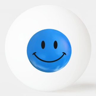 Blue Happy Smiley Ping Pong Ball