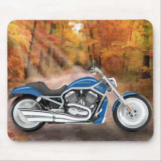 Blue Harley and Autumn Leaves Mouse Pad