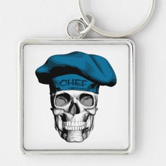 Blue Hat Chef Skull Silver-Colored Square Key Ring