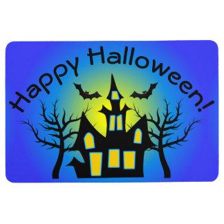 Blue Haunted House and Bats Floor Mat