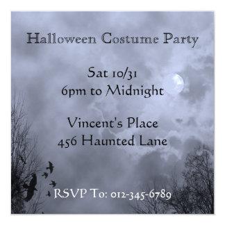"Blue Haunted Sky Custom Halloween Invitations 5.25"" Square Invitation Card"