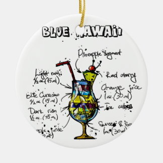 Blue Hawaii Cocktail Recipe Christmas Ornament