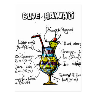 Blue Hawaii Cocktail Recipe Postcard