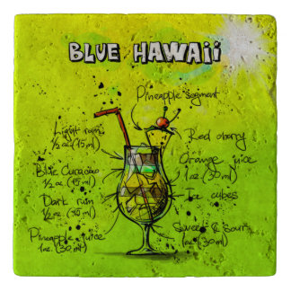 Blue Hawaii Cocktail Travertine Stone Trivet
