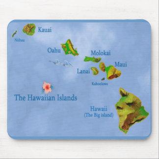 Blue Hawaiian island map mousepad